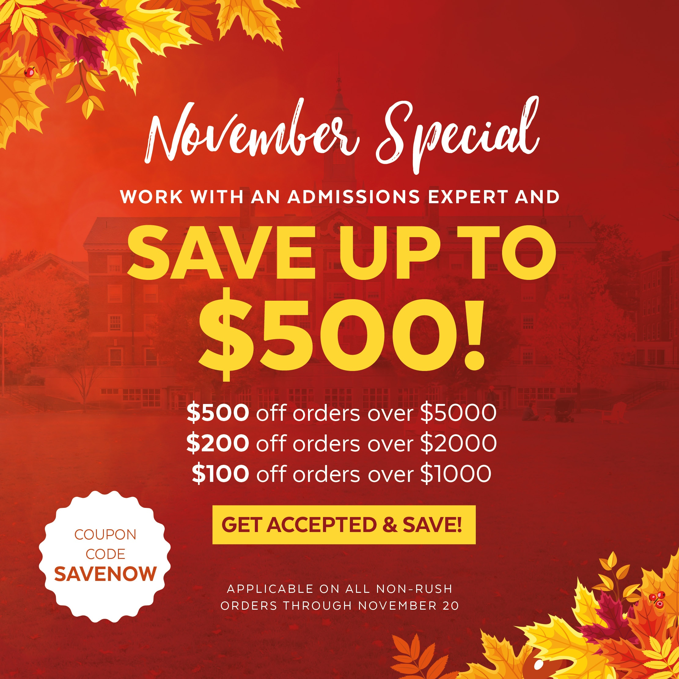 Save up to $500 on MBA admissions services! Shop now >>